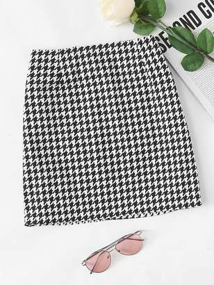 Shein Houndstooth Zip Up Back Skirt