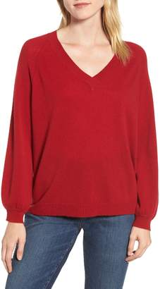 Velvet by Graham & Spencer Blouson Sleeve Cashmere Sweater