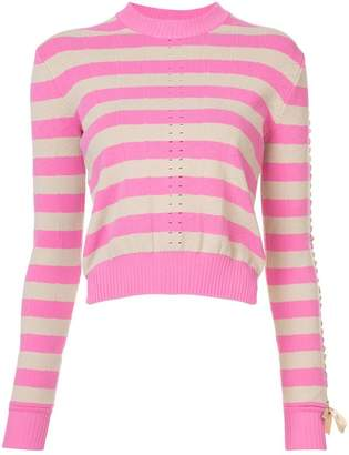 Fendi striped perforated patterned sweater