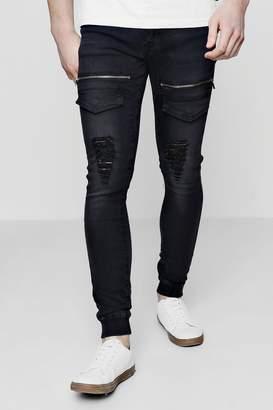 boohoo Super Skinny Distressed Cargo Flight Jeans