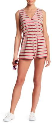 Honey Punch Metallic Stripe Knit Surplice Neck Romper