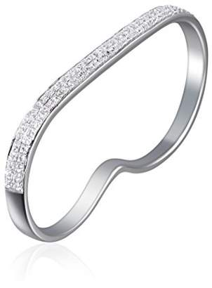 As 29 AS29 Women's 18ct White Gold Plated Sterling Silver Round White Diamonds Lana 2 Line 2 Finger Ring - Size N