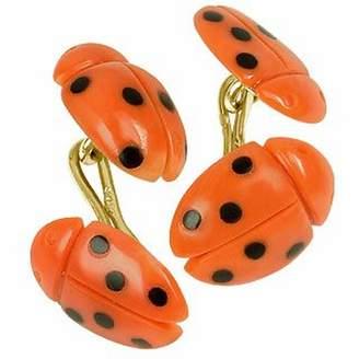 Forzieri Vintage Ladybug Coral and Onyx 18K Gold Cufflinks