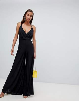 Asos Design Jersey Jumpsuit With Blouson Drape Bodice And Pleated Wide Leg