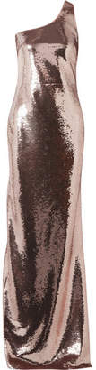 One-shoulder Sequined Tulle Gown - Antique rose