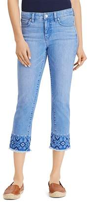 Lauren Ralph Lauren Embroidered Cropped Skinny Jeans in Blue