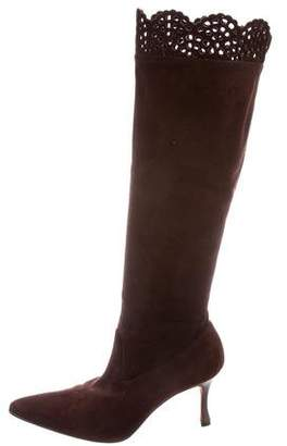 Manolo Blahnik Pointed-Toe Suede Knee-High Boots