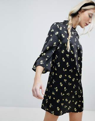 Influence Shift Dress With Mandarin Collar Detail In Satin Buttercup Floral