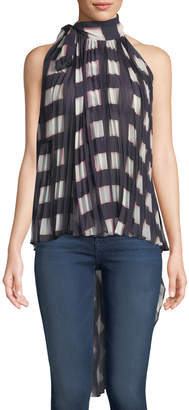 Self-Portrait Self Portrait Pleated Check Chiffon Wrap Top