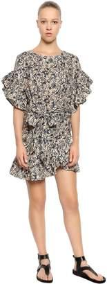 Etoile Isabel Marant Printed Linen Ruffled Dress