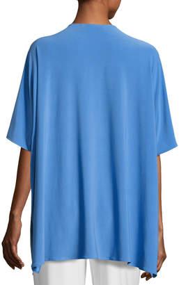Caroline Rose Knit Open-Front Cardigan, Medium Blue, Plus Size
