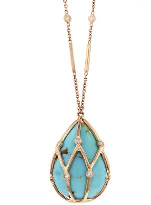 Jacquie Aiche Diamond Caged Turquoise Drop Necklace - Rose Gold