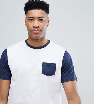 Jacamo TALL T-Shirt With Contrast Sleeve And Pocket
