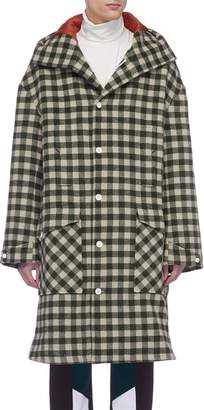 8ON8 Hooded gingham check wool duffle coat