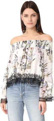 Nicholas Iris Floral Off Shoulder Blouse $375 thestylecure.com