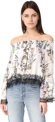 Nicholas Iris Floral Off Shoulder Blouse $375 thestylecure.com