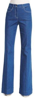 Escada Mid-Rise Flare-Leg Jeans, Medium Blue $575 thestylecure.com