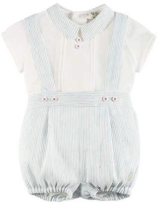 Pili Carrera Pintucked Pointed-Collar Blouse w/ Button-On Overall Shorts, Blue, Size 3M-2Y