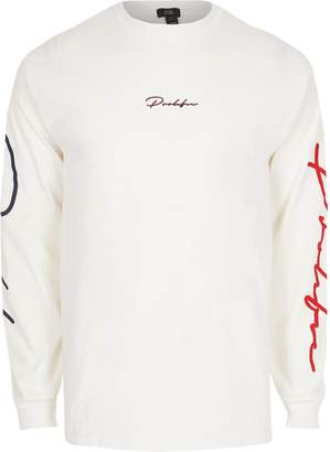 River Island Mens White 'Prolific' long sleeve print T-shirt