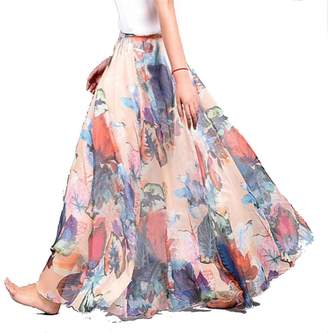 93881f8c7b4 YoungG-3D Summer Women Long Skirt Chiffon Beach Bohemian Maxi Skirts High  Waist