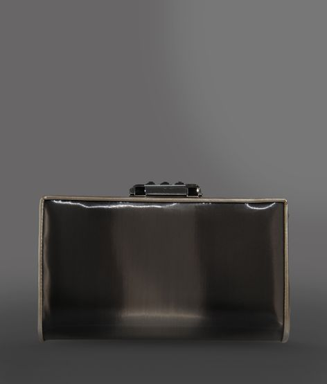 Giorgio Armani Clutch In Pvc And Leather With Jewel Clasp