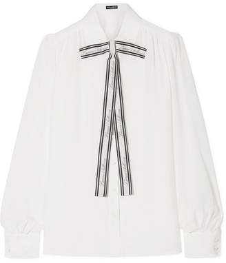 Dolce & Gabbana Printed Pussy-bow Silk Crepe De Chine Blouse - White
