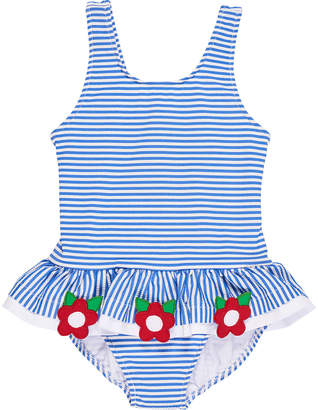 Florence Eiseman Stripe Seersucker Ruffle One-Piece Swimsuit w/ Flower Trim, Size 6-24 Months