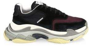Balenciaga Triple S Suede Paneled Sneakers