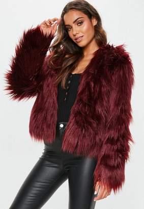 Missguided Burgundy Hooded Shaggy Coat