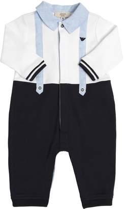 Armani Junior Cotton Jersey & Linen Romper