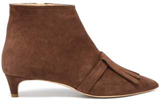 Rupert Sanderson Snowbell Point Toe Suede Ankle Boots - Womens - Brown