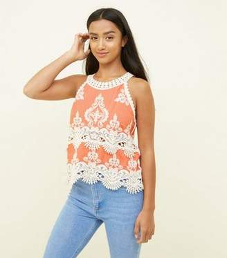 New Look Petite Coral Crochet Trim Sleeveless Top
