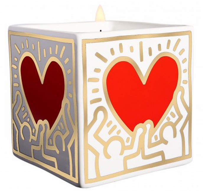 Thompson Ferrier Keith Haring Red and Gold Heart Square Candle