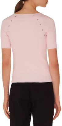 Akris Punto Round-Neck Short-Sleeve Cotton Knit Top w/ Eyelet Detail