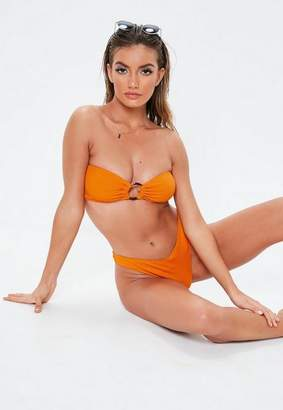 Missguided Orange Mix & Match Textured Bandeau Ring Front Bikini Top