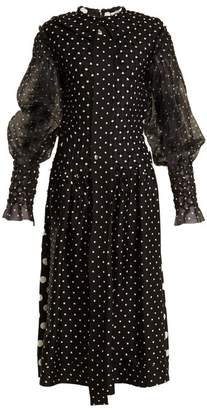 Loewe Polka Dot Print Smocked Silk And Cotton Dress - Womens - Black