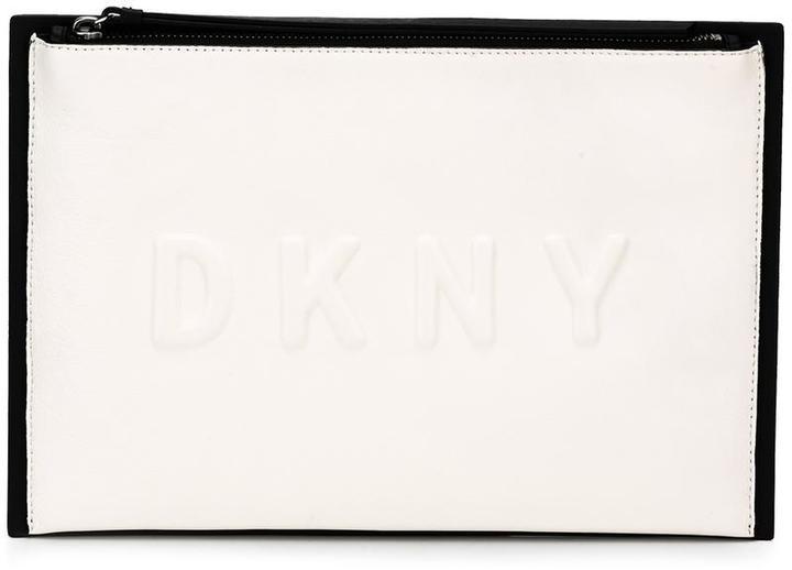 DKNY embossed logo clutch