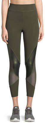 CUSHNIE Amelie Cropped Leggings w/ Mesh Panels