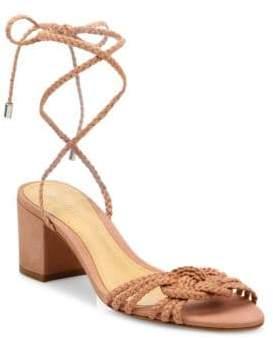 Schutz Marlie Braided Leather Block Heel Sandals