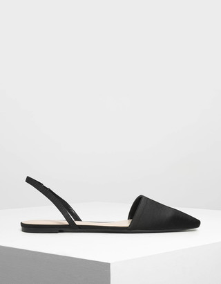 a156f63f782 Charles   Keith Satin Pointed Toe Slingback Flats