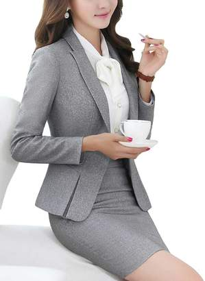 MFrannie Women's Business Office Lady OL Jacket And Skirt Slim Fitness Suit Set -XXXS