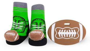 Waddle & Friends Football Rattle Socks & Teether Gift Set