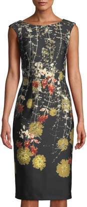 Gabby Skye Floral-Print Scuba-Crepe Midi Dress