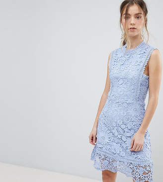 Boohoo Petite Bib Detail Lace Midi Dress