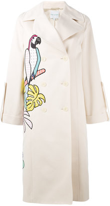 parrot applique trench coat