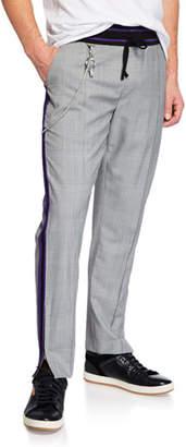 Ovadia & Sons Men's Plaid Side-Zip Pants