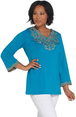 Bob Mackie Bob Mackie's Embroidered Scalloped Neckline Knit Tunic