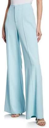 Alice + Olivia Dylan High-Waist Wide-Leg Pintuck Pants, Light Blue