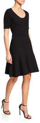 Diane von Furstenberg Lark Scoop-Neck Short-Sleeve Scallop Dress