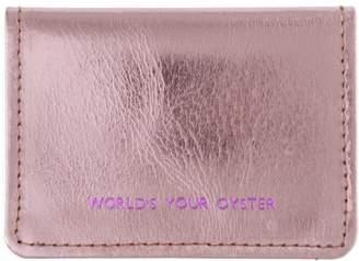 VIDA VIDA - Worlds Your Oyster Metallic Pink Leather Travel Card Holder